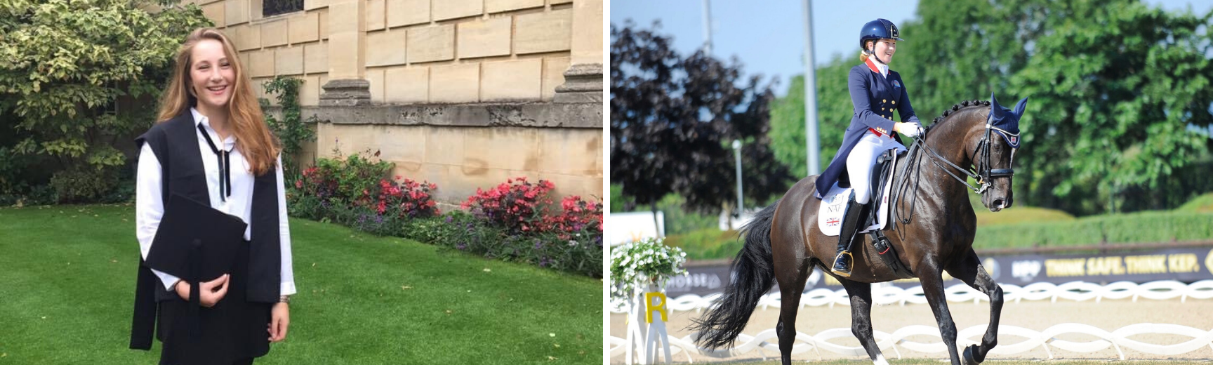An image of Rebecca riding her horse and an image of Rebecca and her OUEC team mates holding medals