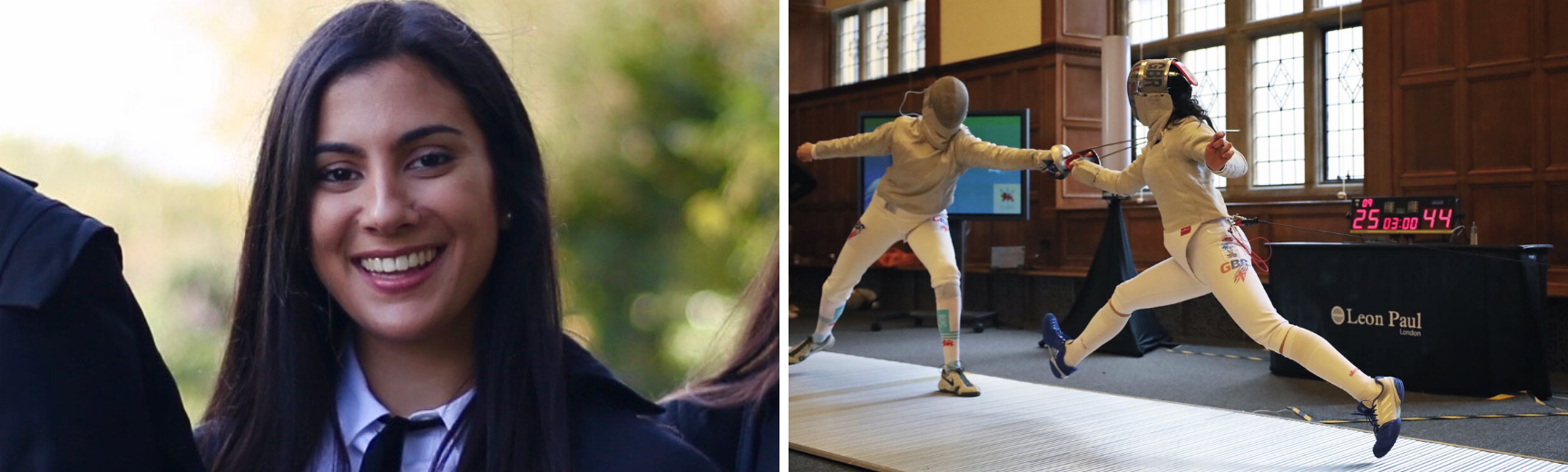 An image of Aliya in academic wear and an image and Aliya fencing