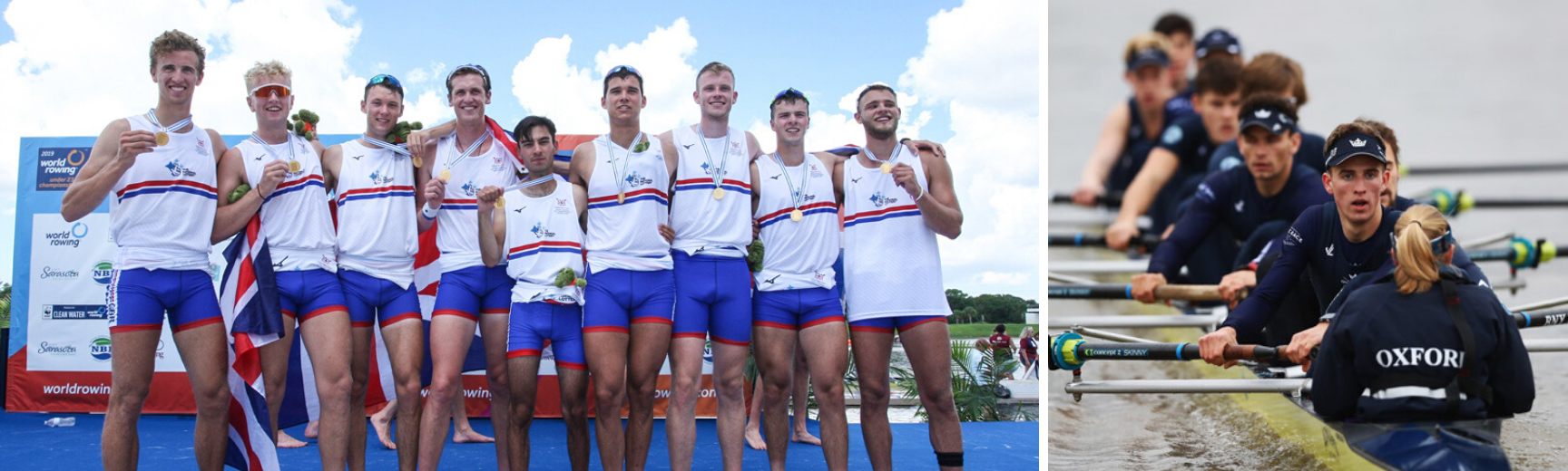 An image of Felix celebrating with his Team GB team mates and an image of Felix training with OUBC