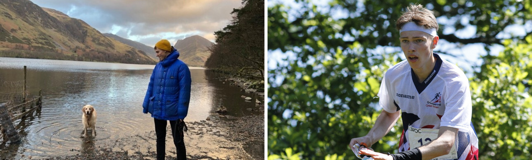 A photo of Zac and his dog by a lake and a photo of Zac competing for Great Britain