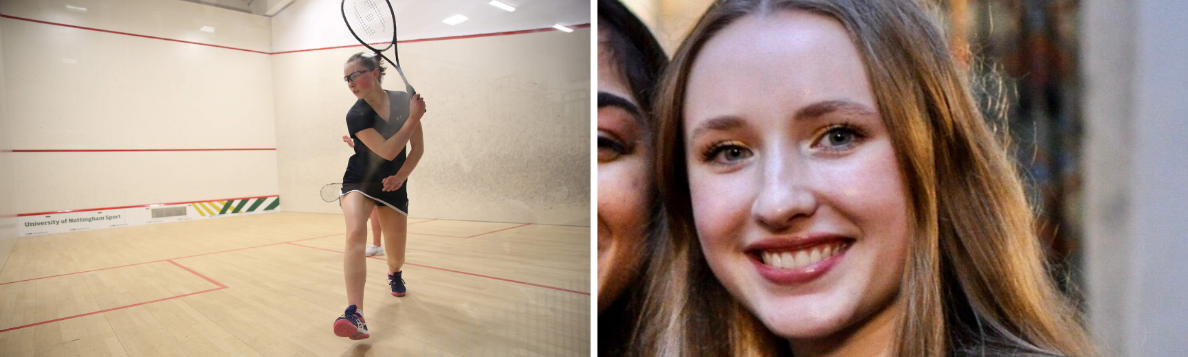 An image of Laura hitting a backhand and a profile image of Laura
