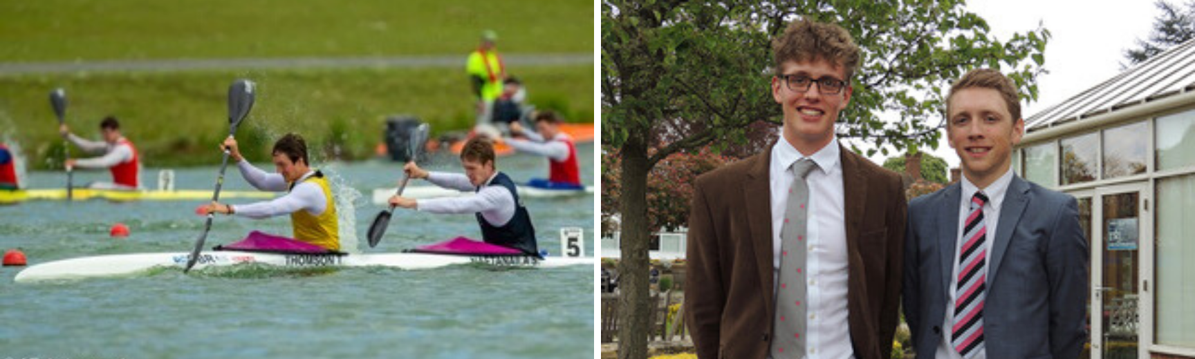 A picture of Magnus canoeing and a picture of Magnus dressed in a suit, in a garden with another person