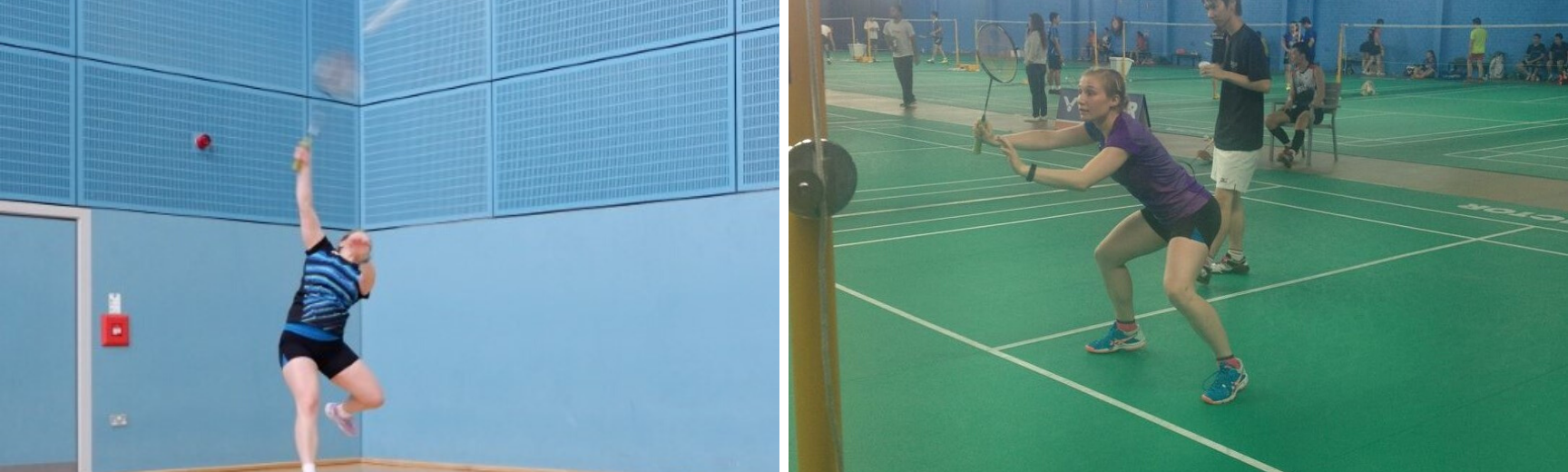 Two images of Philippa playing badminton
