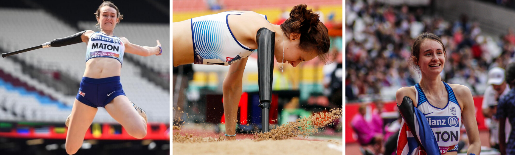 Two images of Polly competing in long jump and an image of her with a Union Jack flag