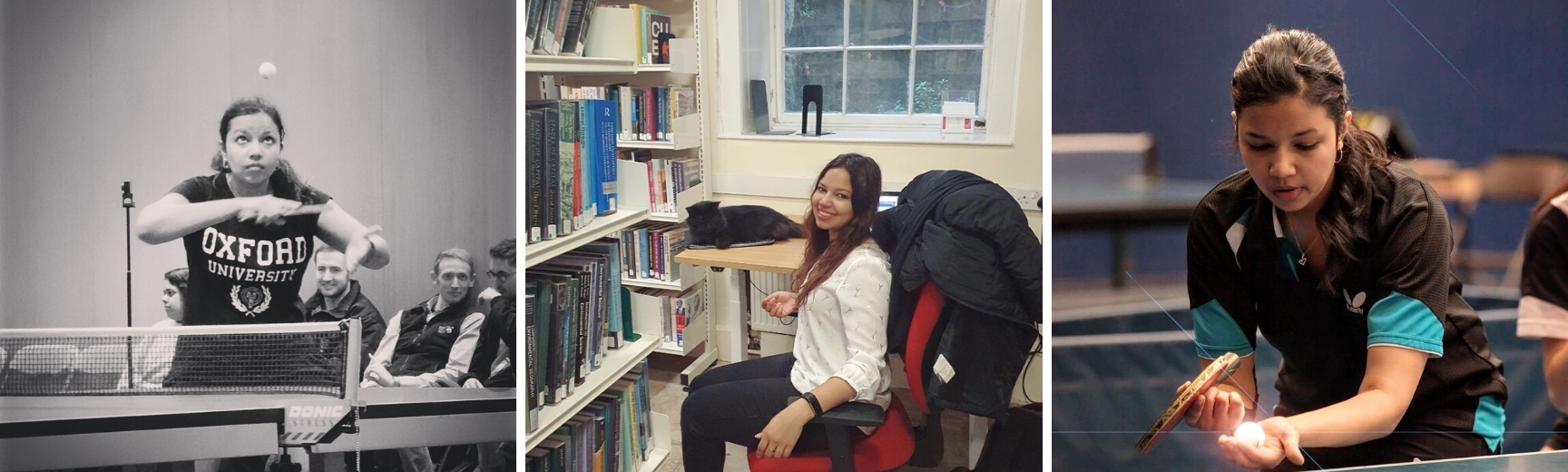 Two images of Priyal playing table tennis and one image of her in the Hertford College library